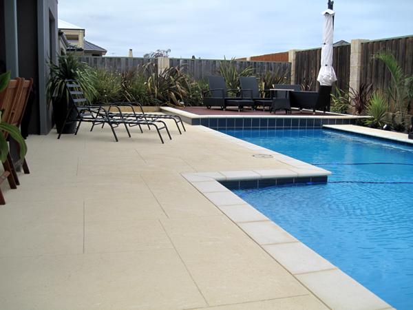 Liquid limestone pool surrounds wa perth liquid limestone for Swimming pool surrounds design